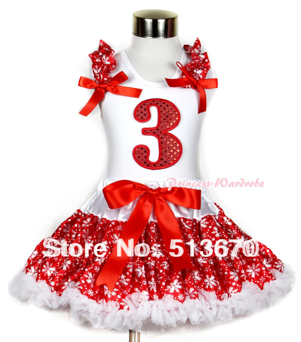 Xmas White Tank Top 3rd Sparkle Red Birthday Number Print Red Snowflakes Ruffles & Red Bow & Red Snowflakes Pettiskirt MAMG727 heist society
