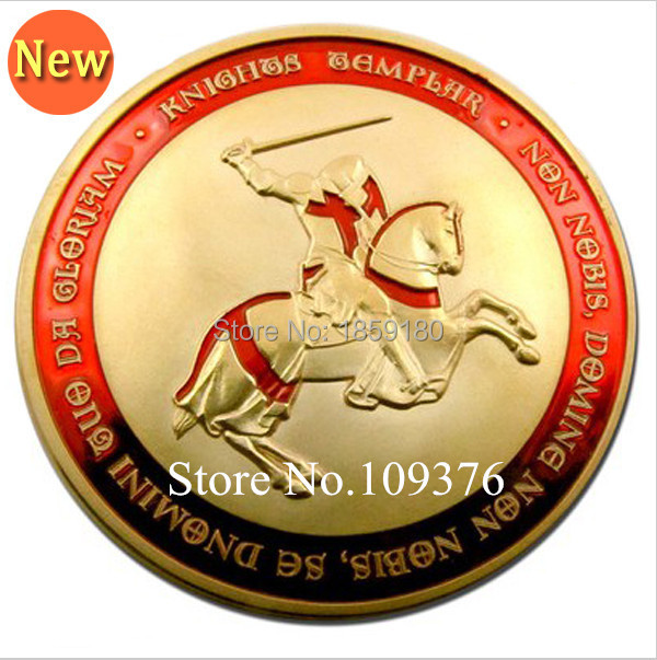 1Pcs/Lot Free Shipping Freemasons Templars Knights red Cross Color Glazed gold Clad Knight Templar Coin