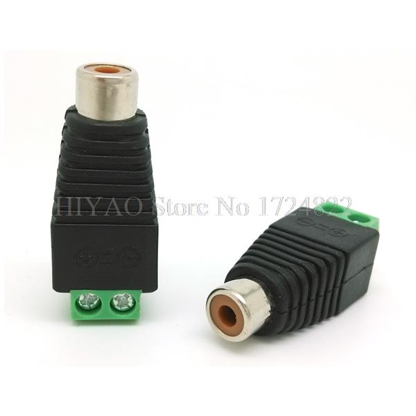 10pcs CAT5 To Camera CCTV Video AV Balun Phono RCA female jack Connector ,Terminal block to RCA female adapter , Free Shipping купить