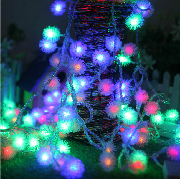 10M 100 LED Furry Ball RGB Edelweiss Snowflake Led String Strip Fairy Light Colorful Color Changing Holiday Christmas Xmas
