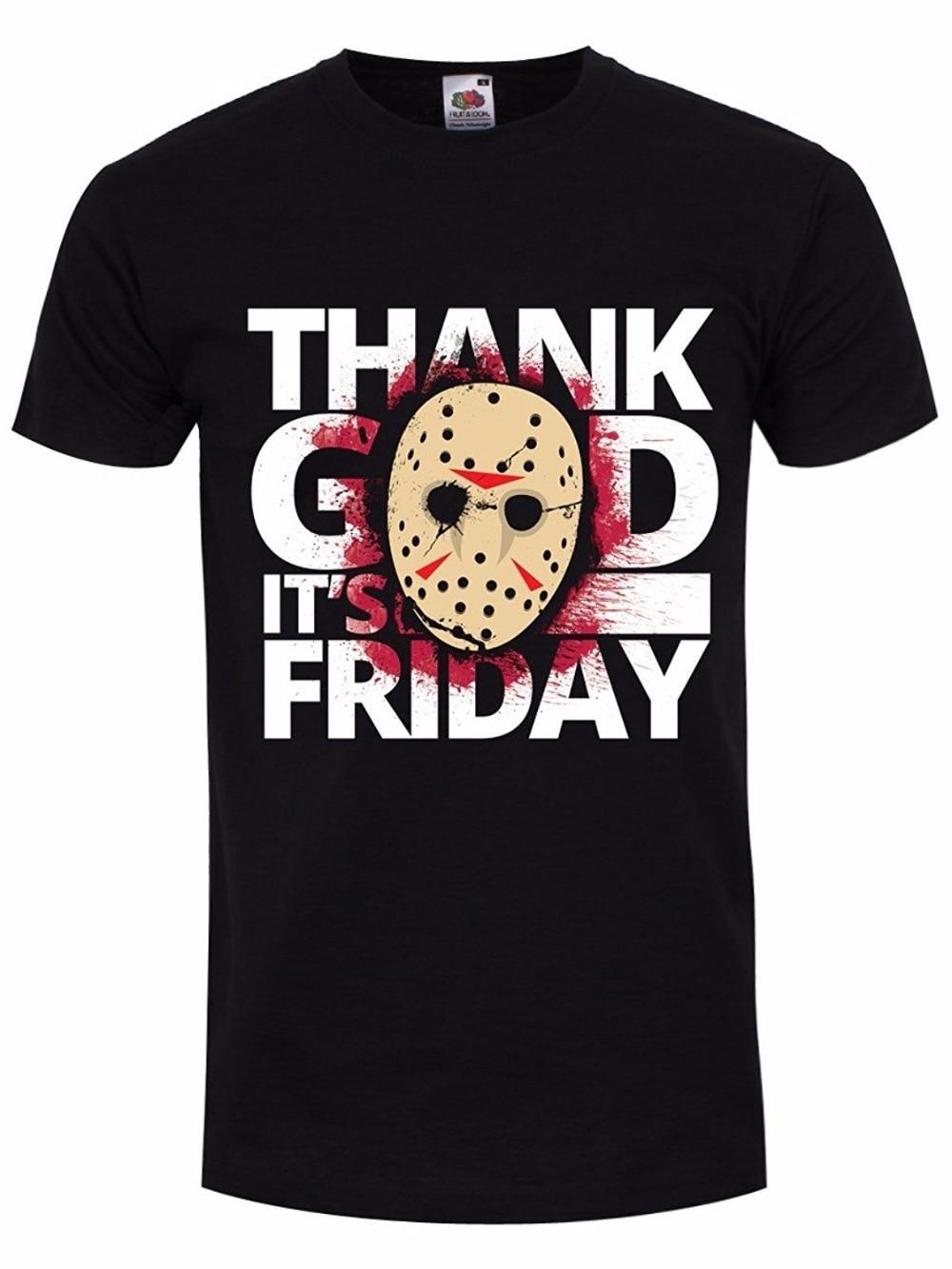 Clothing Plus Size S M L Xl XXl O-Neck Short Mens Thank God Its Friday T-Shirt Black 100% Cotton Mens Tee