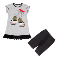HG6979 4 8years Baby Girl Clothes Children Girl Sets Dress And Pants Carton Summer Sets Nova