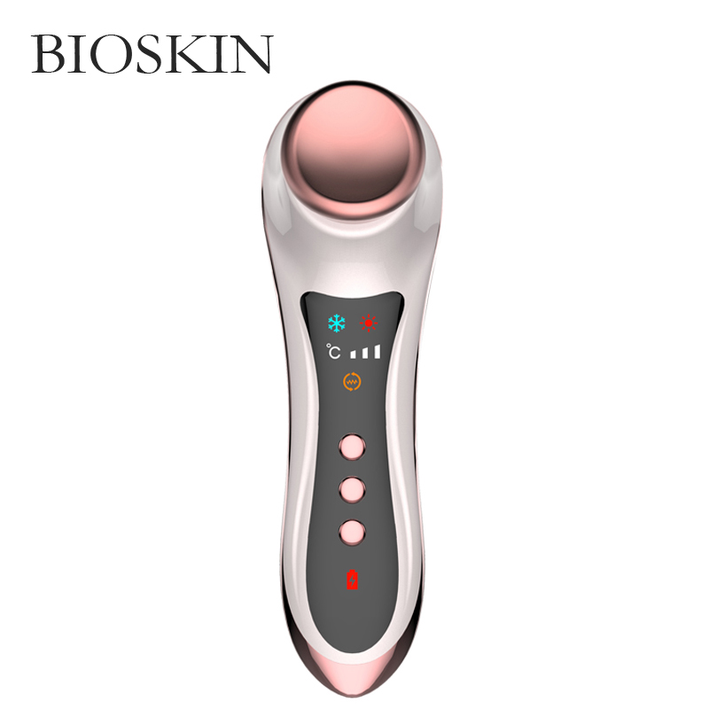 Купить с кэшбэком BIOSKIN Hot Cold Compress for Eyes Electric Sonic Massager Dark Circles Puffiness Anti-aging Anti-wrinkle Fatigue Elimination