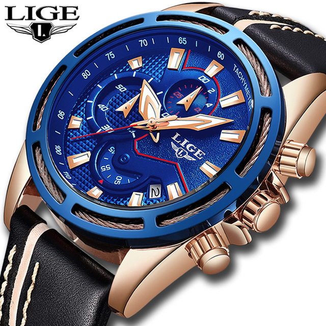 LIGE Mens Watches Top Brand Luxury Men's Army Military Sport Watch Men Casual Leather Waterproof Quartz Watch Relogio Masculino цена