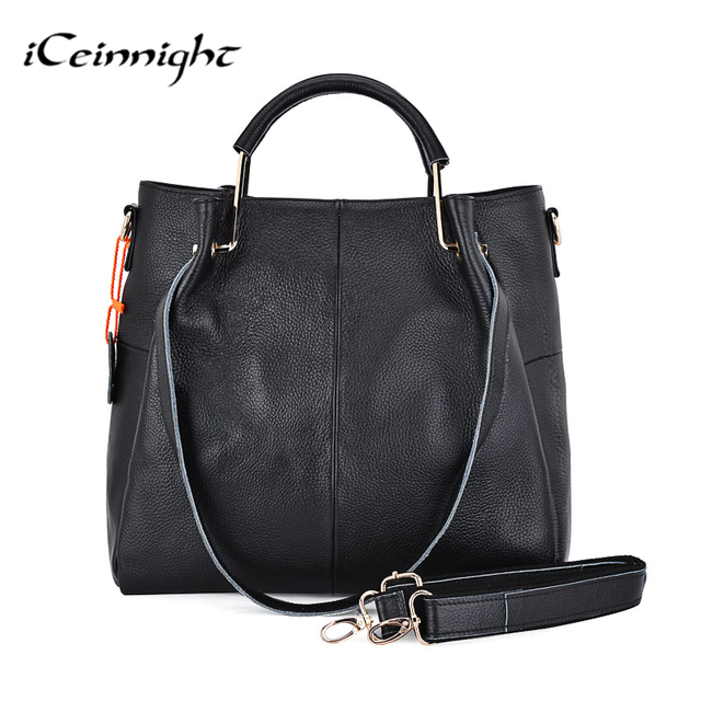 iCeinnight 100% genuine leather Big women bag casual tote High quality  black shoulder composite female bag with long belt