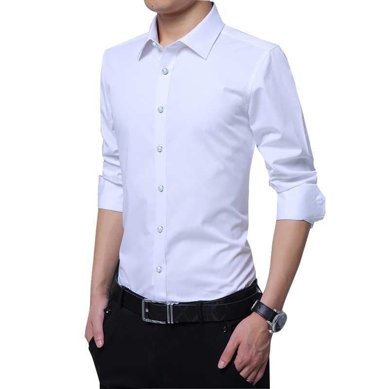 Czytelna Casual społeczna formalna koszula męska koszula z długim rękawem elegancka typu Slim koszula biurowa męskie bawełniane męskie ubranie koszule białe 4XL 5XL