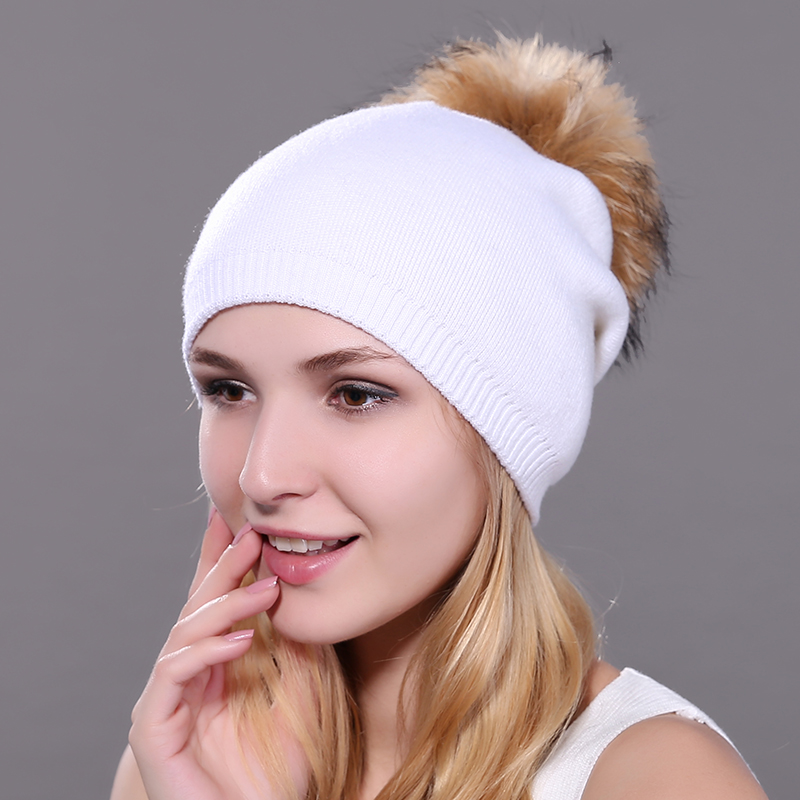 Maylooks Raccoon 18CM Fur Pompon Hat Thick Winter For Women Cap Beanie Hats Knitted Cashmere Wool Caps Female Skullies Beanies autumn winter beanie fur hat knitted wool cap with raccoon fur pompom skullies caps ladies knit winter hats for women beanies