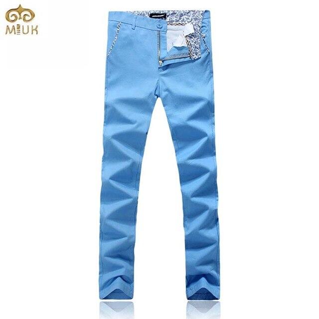 MIUK 2017 Новый Большой Размер Хлопок Мужчины Брюки 42 40 марка Одежды 6 Цвет Черный Синий Красный Прямые Брюки Pantalones Hombre тренировочные брюки