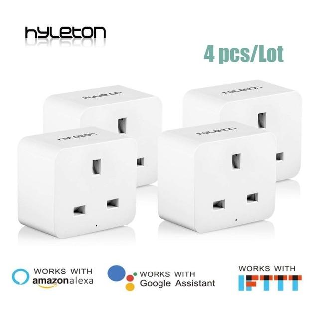4 paczka Hyleton inteligentne gniazdo wtyczka Wi-Fi pilot zdalnego sterowania UK zasilania przełącznik pracy z Amazon Alexa i Google dla inteligentnego życia