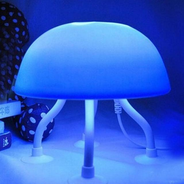 Mini Jellyfish Lamp Tank LED Water Lamp Mood Night Light With USB Cable  (Blue+