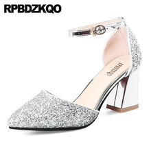 14790c06491 pumps silver high heels sandals 3 inch party shoes for women 2018 dress  thick pointed toe. 5 Colors Available