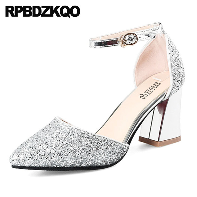 a6a08f130 pumps silver high heels sandals 3 inch party shoes for women 2018 dress  thick pointed toe bling ankle strap glitter size 4 34