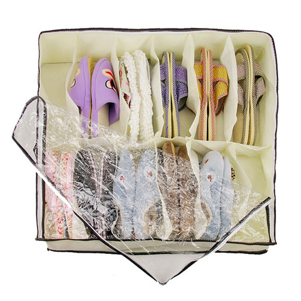 EYKOSI 12 Pairs Vogue Shoes Storage Organizer Holder Container Under Bed Closet Box Bag Protect Shoes 65cm * 55cm * 15cm