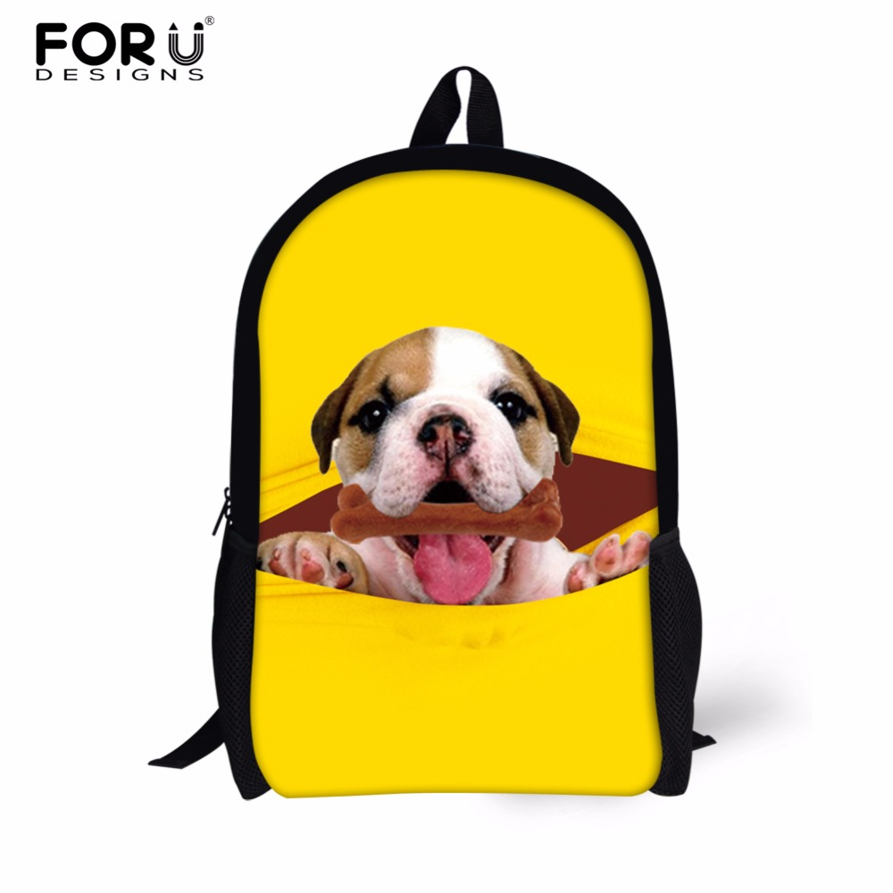 FORUDESIGNS Animal Pug Dog Women Fashion Backpack Cool Tiger Printing Backpack for Men Children Book Bags Casual School Backpac