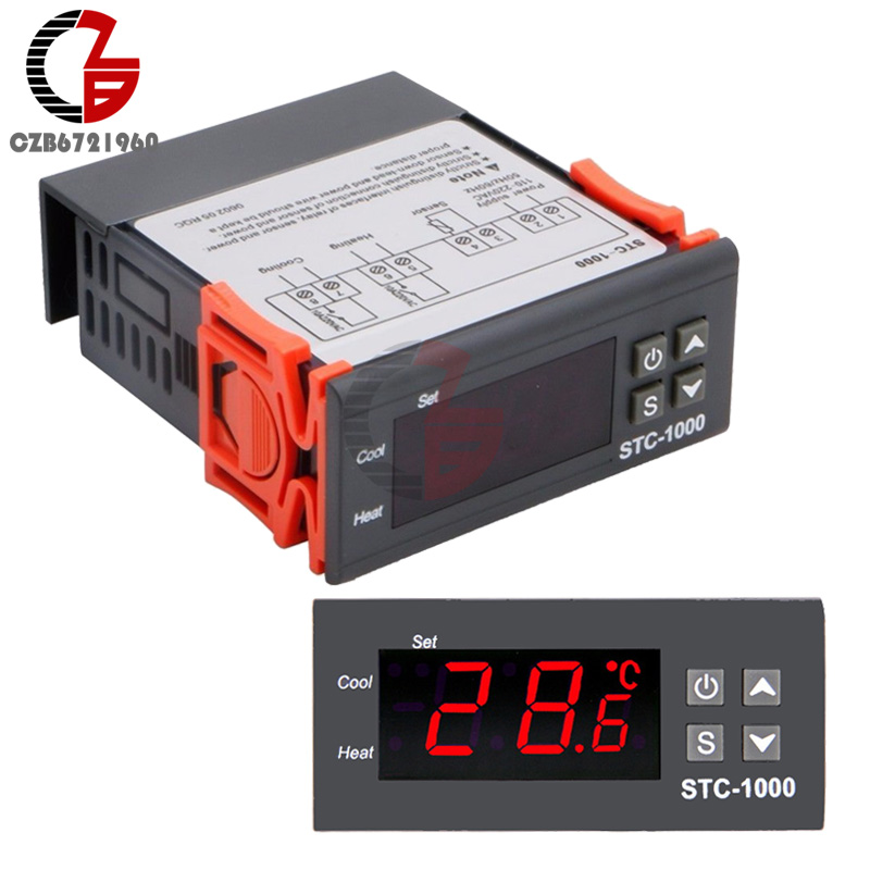 STC-1000 AC 110-220V 10A Digital LCD Display Thermostat Temperature Control Thermometer Thermo Controller With NTC Sensor digital tdk0302la humidity temperature controller 220v led display home egg incubator farming thermometer cn902 thermostat