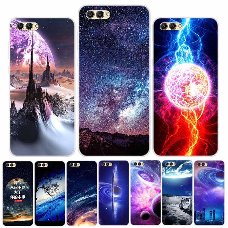 "Silicone Case on For Huawei Honor View 10 Case 5.99"" Space Soft TPU Back Cover Phone Case For Huawei Honor V10 View 10 Lite capa"