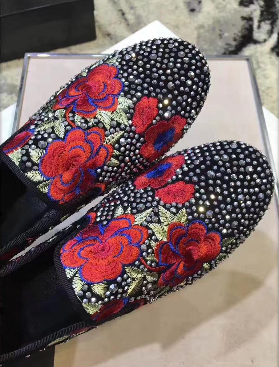 Falsas Cristal Blue Silver Rhinestone Con dark Bordado Mujer Rhinestone Las Zapato Ocasionales Zapatos Mujeres Punta Señoras Mocasines Flor Piedras Diamantes De Redonda Para UaBq1ax