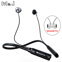 M J Curled Stereo Wireless Bluetooth Headphone Headset Outdoor Sports Premium Neckband Earphones With Mic For