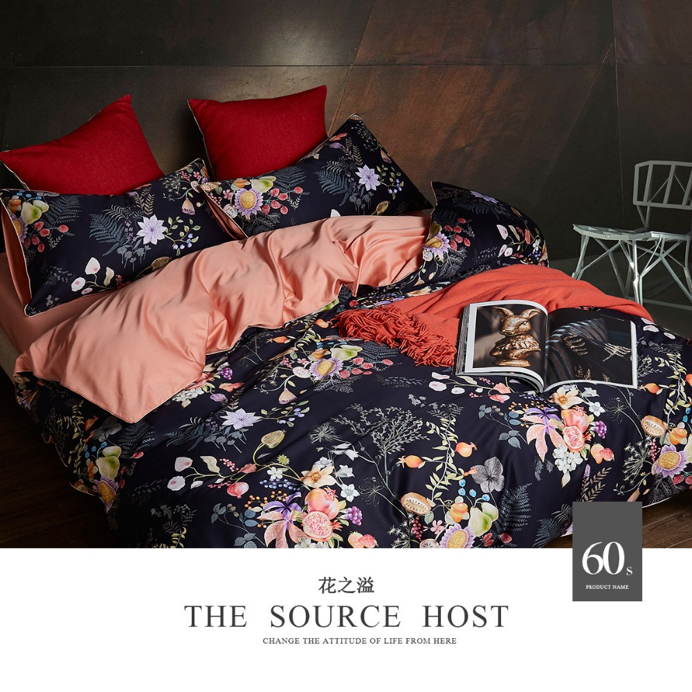 60S Egyptian Cotton bedding sets 4pcs double queen size satin bed linen percale duvet cover set luxury bed sheets pillowcases-in Bedding Sets from Home & Garden    3
