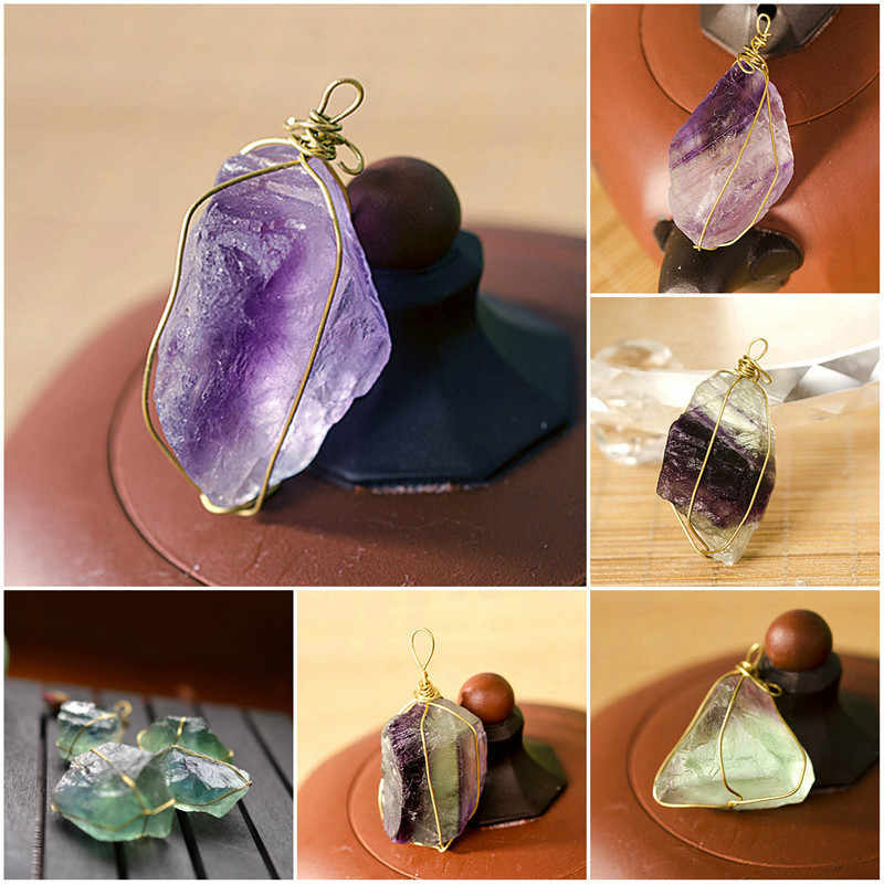 Pure Natural Quartz Crystal Pendant Stone Unpolished Colorful Green Blue Random Fluorite Healing Hexagonal Wand Treatment Stone