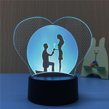 Novelty Gift Love Heart Couples 3D Lamp Night Light for Chilren LED Illusion Atmosphere Sleep Light Touch Colors Changing