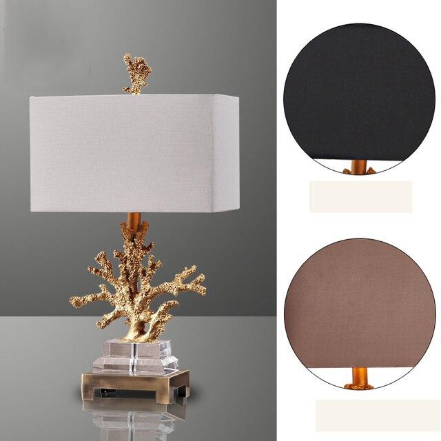 Luxus Gold Korallen Tischleuchte Wohnzimmer Mittelmeer Schlafzimmer Nachttischlampen 3 Stoff Lampenschirm Optional Hause Beleuchtung