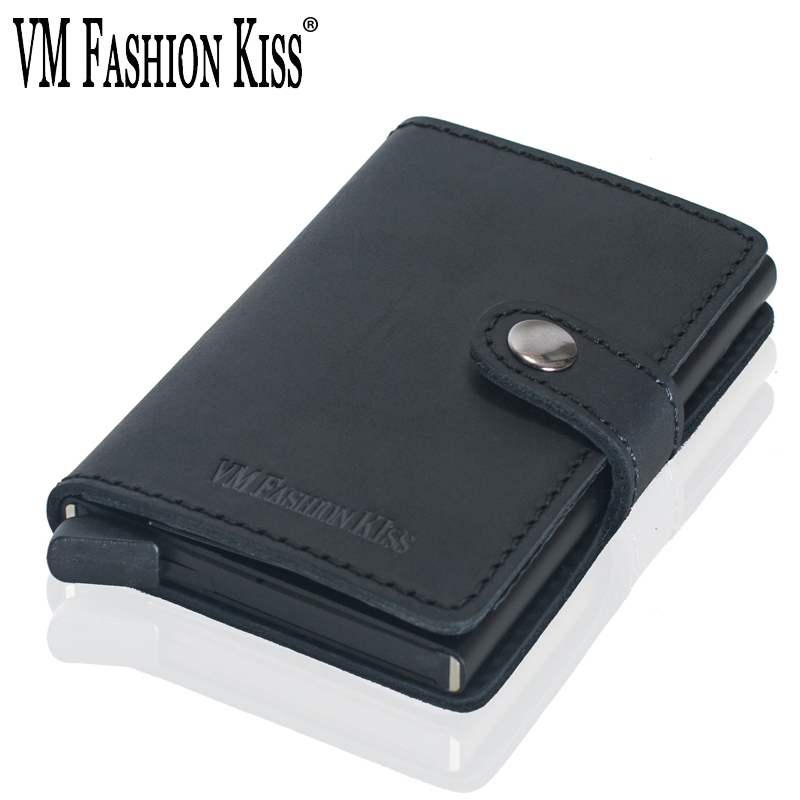 VM FASHION KISS RFID Crazy Horse Leather Minimalist Wallet Security Information Aluminum Box Credit Card Holder Metal Mini Purse