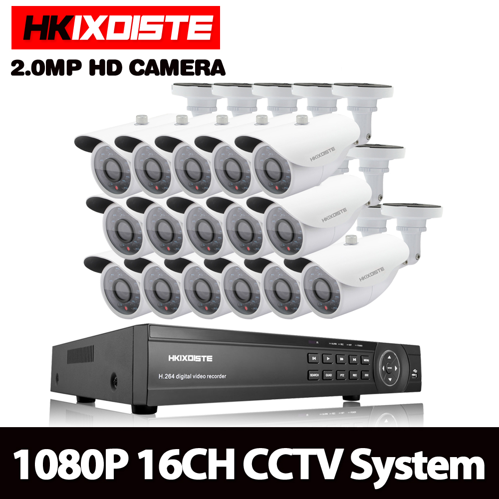 HKIXDISTE 1080P AHD 16CH CCTV Camera System Kit 16 Channel AHD DVR Recorder+IR Outdoor Bullet White 2MP AHD Camera SystemHKIXDISTE 1080P AHD 16CH CCTV Camera System Kit 16 Channel AHD DVR Recorder+IR Outdoor Bullet White 2MP AHD Camera System