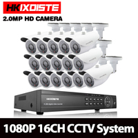 HKIXDISTE 1080P AHD 16CH CCTV Camera System Kit 16 Channel AHD DVR Recorder+IR Outdoor Bullet White 2MP AHD Camera System