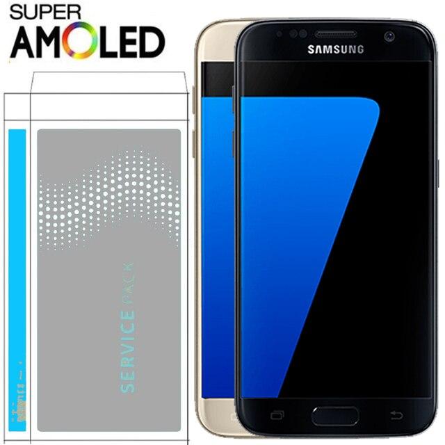100% الأصلي 5.1 ''سوبر AMOLED LCD مع الإطار لسامسونج غالاكسي S7 شقة عرض G930 G930F محول الأرقام بشاشة تعمل بلمس