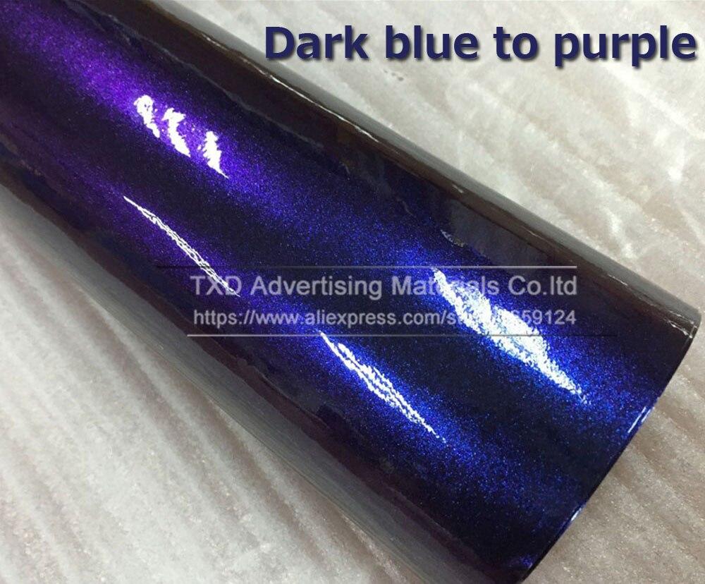 Темно-синий фиолетовый хамелеон Блестящий жемчужная виниловая оберточная пленка с пузырьками без воздуха Хамелеон блестящий фильм с 4 размерами - Название цвета: dark blue to purple