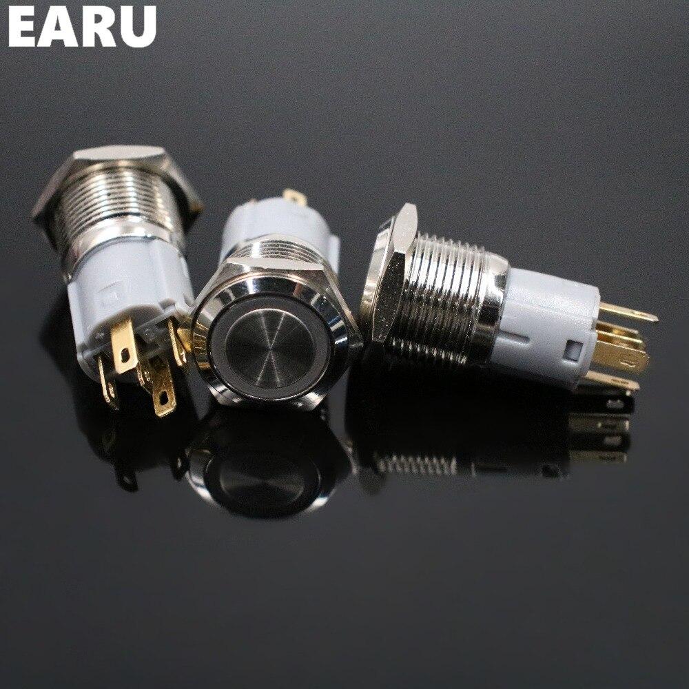 16 мм водонепроницаемый металлический кнопочный переключатель светодиодный светильник с подсветкой моментальная Перезагрузка двигателя автомобиля PC power Start 5V 12V 3-380V красный синий