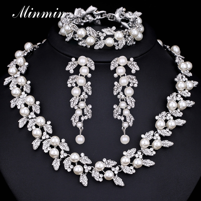 Minmin Synthetic Pearl Leaves Bridal Jewelry Sets Crystal African Beads Jewelry Set for Women Wedding Jewelry TL283+SL089
