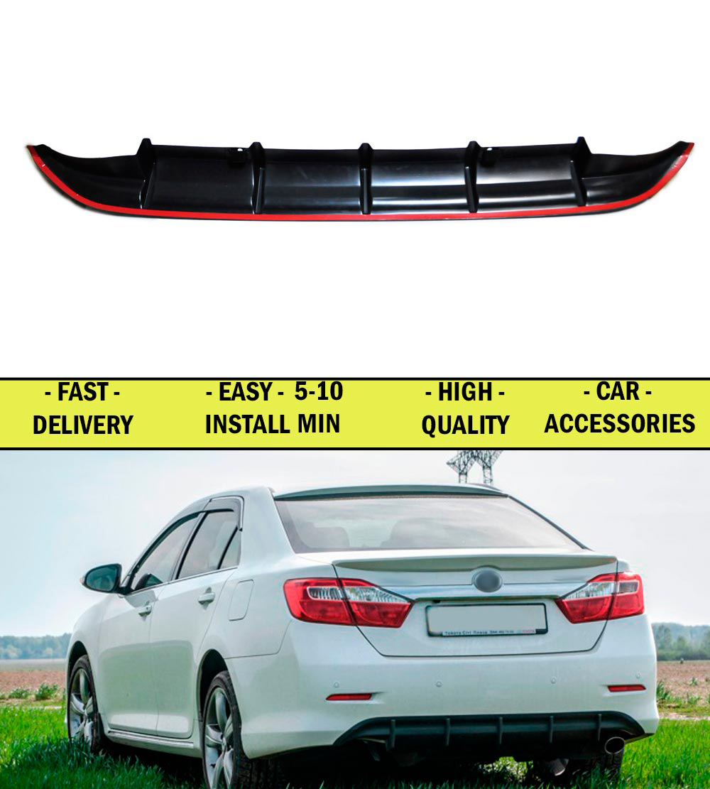 Diffuser for Toyota Camry XV50 2011-2012-2013-2014 pad on the rear bumper ABS plastic sports styles aerodynamic wing car stylingDiffuser for Toyota Camry XV50 2011-2012-2013-2014 pad on the rear bumper ABS plastic sports styles aerodynamic wing car styling