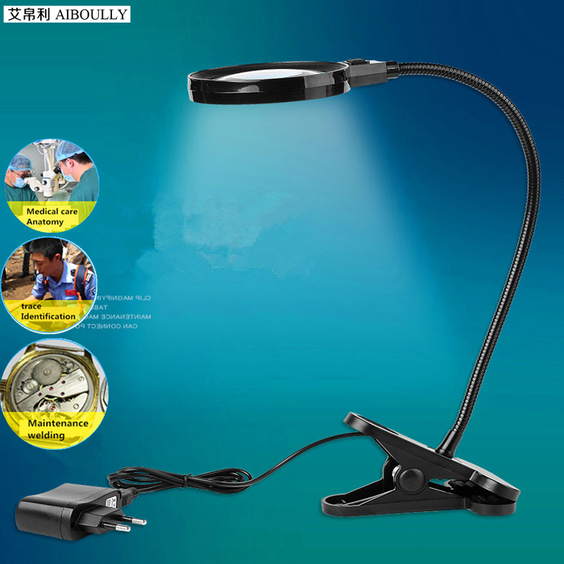 6 times the clip magnifying glass desktop with LED maintenance magnifying glass 75MM old reading maintenance diagnostic tool  [us] thinking more differentiation lighting 8 times the magnifying glass with scale light handheld 6513 01