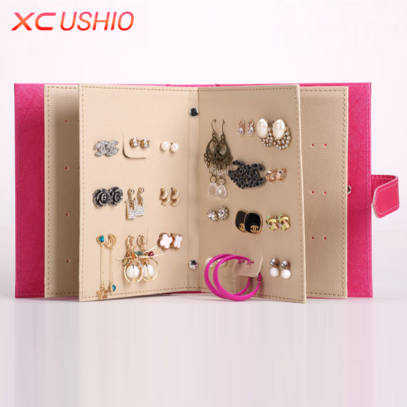 XC USHIO Jewelry Collection Book Storage Box Creative PU Leather Stud Earring Jewelery Display Holder Container Stored Organizer