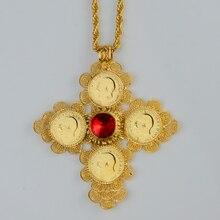Etíope Gran Cruz Colgantes Collares Mujeres/Hombres Joyería Plateada Oro de África Etiopía Moneda Cruz/Eritrea Habesha Necklace #044202
