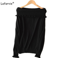 Lafarvie Autumn Winter Off Shoulder Knitted Sweater Women Tops Pullover Female Solid Color Knitting Cashmere Sweater