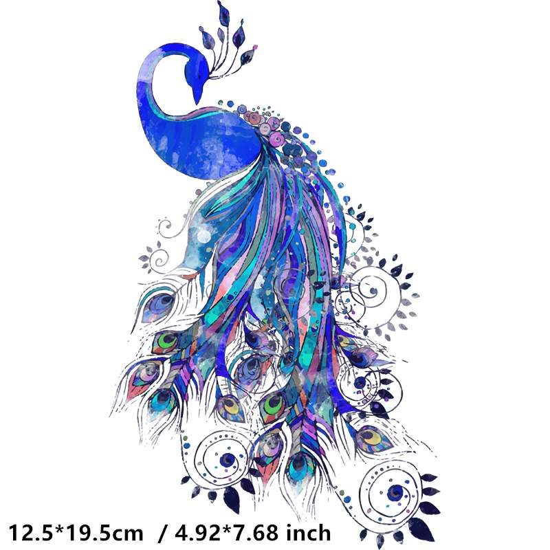 Cute Peacock Iron On Heat Transfer Printing Patches Sticker Washable For T-shirts Clothing DIY Stickers Appliques 2019