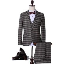 PlaidWedding Männer Anzug Vintage Elegante Single Button Druck Party Herren Anzüge Slim Fit Italien Stil Blazer Weste Hosen