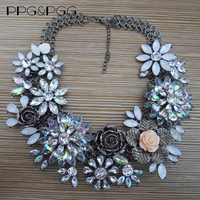2015 New Multilayer Vintage Rhinestone Flower Necklace Crystal Choker Statement Necklaces For Women Jewelry