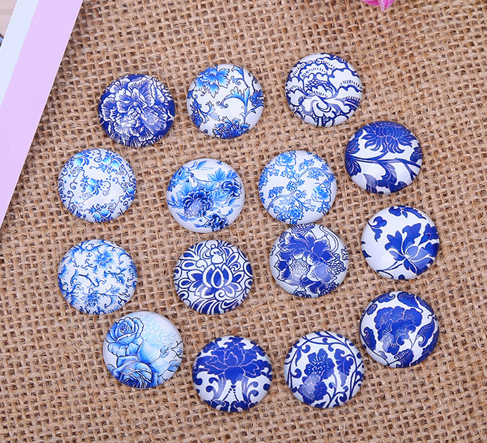 30X 12mm Blue flowers and white pattern Round Handmade Photo Glass Cabochons & Glass Dome Cover Pendant Cameo Settings flowers butterflies pattern waterproof shower curtain