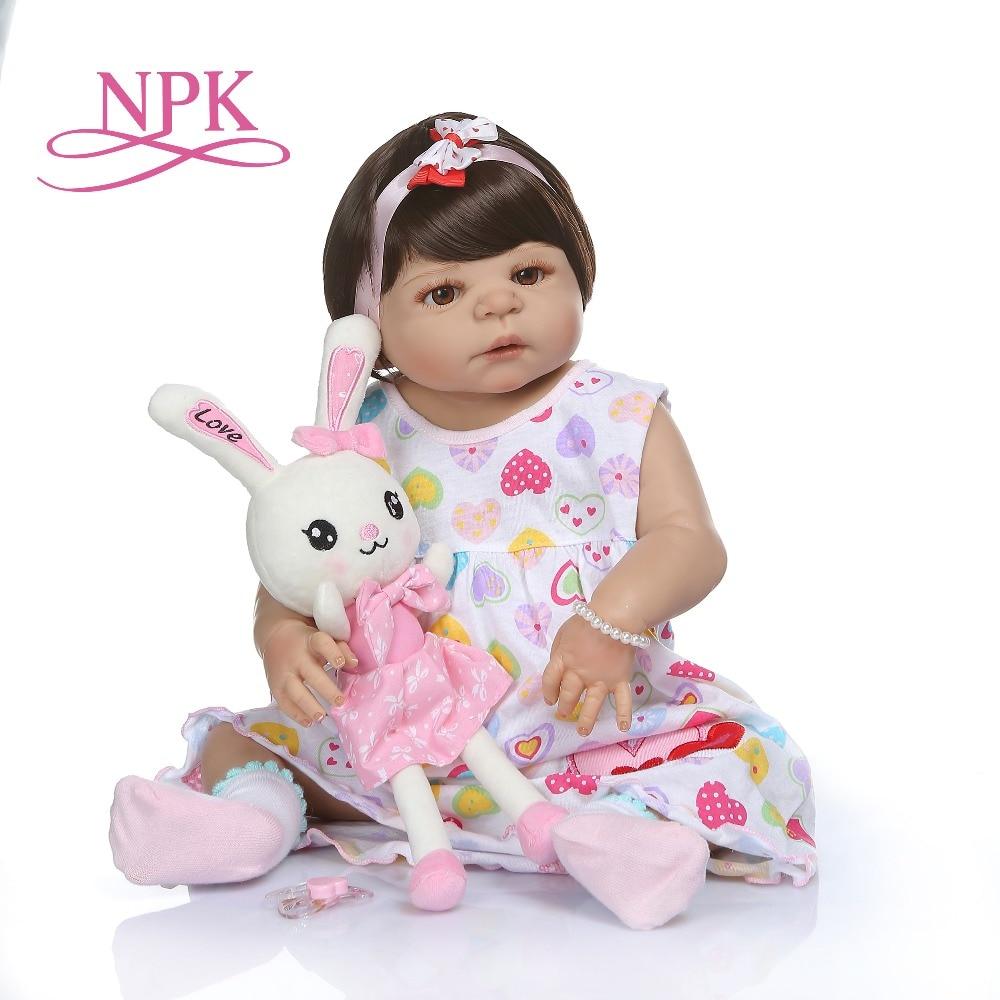 Oyuncaklar ve Hobi Ürünleri'ten Bebekler'de NPK 56 CM yenidoğan bebe bebek yeniden doğmuş bebek bebek tan cilt tam vücut silikon Banyo oyuncak lol bebek Xmas hediye'da  Grup 1