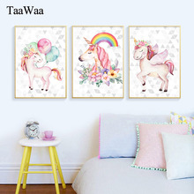 TAAWAA Pink Unicorn Canvas Print Poster Nordic Style Nursery Wall Art Painting Decorative Pictures For Baby Girl Bedroom Decor