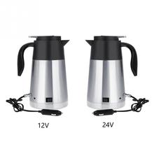 12 /24V 1300ml Stainless Steel Car Truck Travel Electric Kettle Pot Heated Water Cup