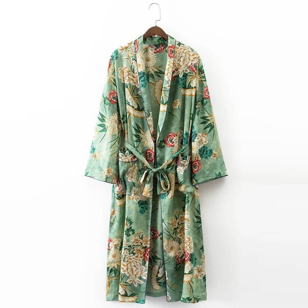 Vintage Green Ethnic Floral Long Kimono Cardigan Blouse Sashes Two ...
