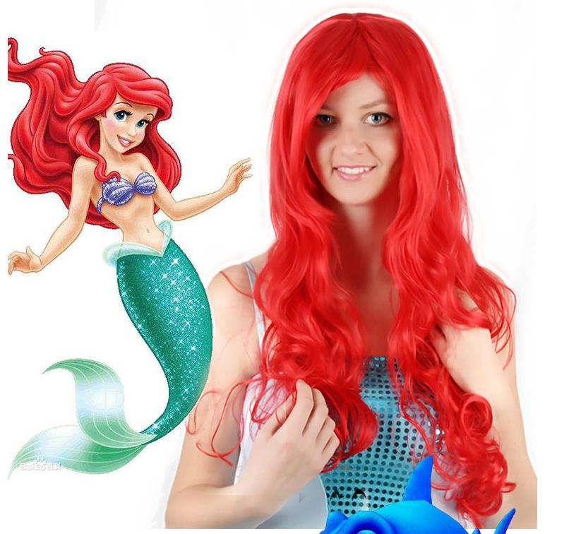 The Little Mermaid Red Wavy Wig Cosplay Costume Wigs Princess Cosplay Wig for Party Supplies