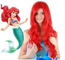 Русалочка красные волнистые парик карнавальный костюм парики принцесса косплей для вечеринок