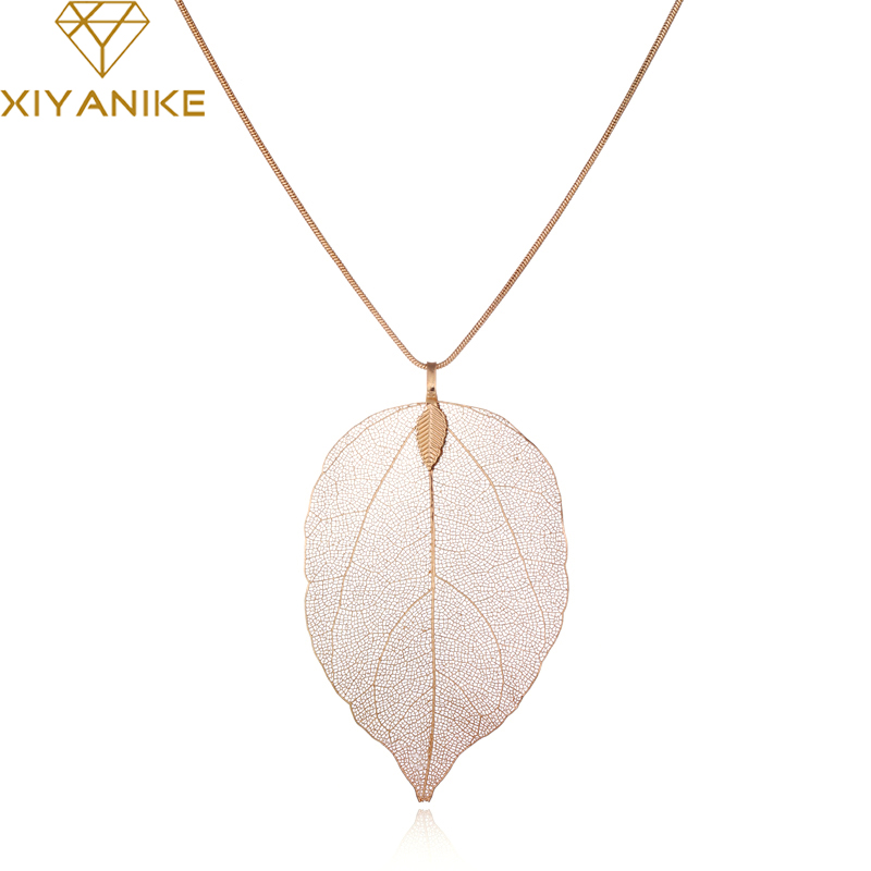 XIYANIKE Long Unique Real True Leaf Maxi Necklace For Women Jewelry Rose Gold Color Collares Necklaces & Pendants Gift N328