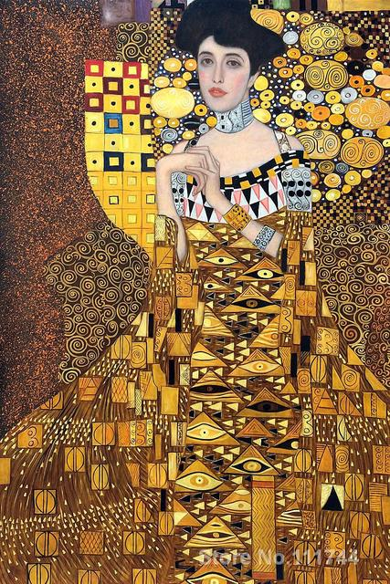 or peintures de gustav klimt portrait d 39 adele bloch bauer peint la main toile art haute. Black Bedroom Furniture Sets. Home Design Ideas
